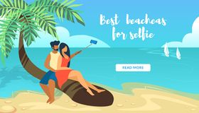 Couples aimants se reposant sur le palmier faisant Selfie illustration de vecteur