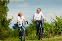 Couples aînés heureux faisant un cycle à l'extérieur en été Photos libres de droits