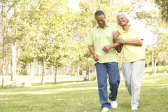 Couples aînés marchant en stationnement Photographie stock