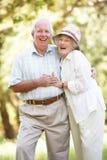 Couples aînés marchant en stationnement Image stock