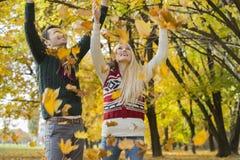 Couples appréciant les feuilles d'automne en baisse en parc Image stock