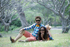 Couples of asian people in the garden Stock Images