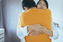 Couples asian people hugging in lovely and romantic moment togethe,Valentine day concept,First date. Couples asian people hugging in lovely and romantic moment royalty free stock images