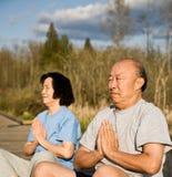Couples asiatiques aînés actifs Image libre de droits