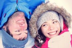 Couples asiatiques/caucasiens joyeux Photos libres de droits