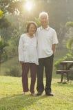 Couples asiatiques d'aînés marchant au parc extérieur Photographie stock