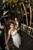 Couples asiatiques de mariage dans l'emplacement tropical Images stock