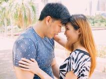 Couples asiatiques doux regardant dans les yeux en parc Image stock