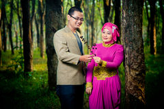 Couples asiatiques Engagment Image stock
