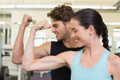 Couples attrayants convenables comparant des biceps photo stock