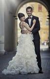 Couples attrayants de mariage dans la pose d'amour Image stock