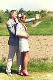 Couples au futur site à la maison Image libre de droits