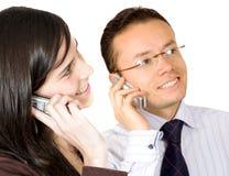 Couples au téléphone Photo stock