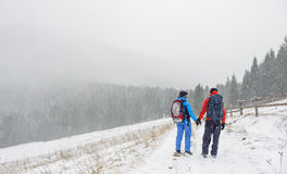 Couples augmentant dans la montagne carpathienne Photo libre de droits