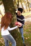 Couples ayant l'amusement au stationnement Image libre de droits