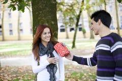 Couples ayant l'amusement au stationnement Photographie stock