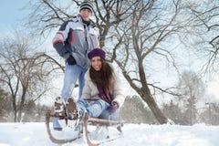 Couples ayant l'amusement dans l'hiver Photographie stock
