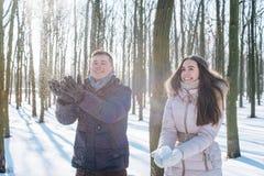Couples ayant l'amusement dans le parc neigeux Photos stock