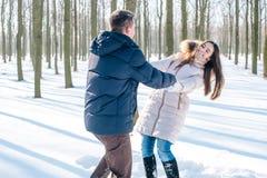 Couples ayant l'amusement dans le parc neigeux Images stock