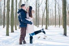 Couples ayant l'amusement dans le parc neigeux Photographie stock