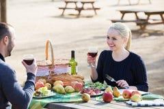 Couples ayant le pique-nique à la campagne Photographie stock