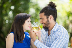 Couples ayant le vin dans un restaurant photo stock