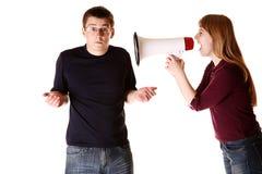 Couples ayant un combat. Concept. photo stock