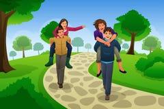 Couples ayant une course de ferroutage Image libre de droits