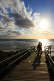 Couples at the beach. Sunset at prevelly beach margaret river, couples at walkway or stairway to beach Royalty Free Stock Photo