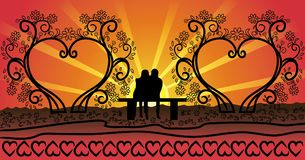 Couples on the bench monogram frames. This is digital illustration monogram frames - couples on the bench vectors pictures. The figure symbolizes the family Royalty Free Stock Image