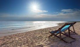 Couples of blue chairs beach on sand beach Stock Photo