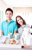 Couples with breakfast Stock Photography