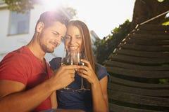 Couples célébrant avec du vin dans l'arrière-cour Photographie stock