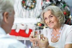 Couples célébrant Noël Photographie stock