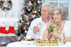 Couples célébrant Noël avec le champagne Image libre de droits