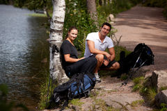 Couples campants Photo stock