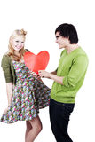 Couples caucasiens asiatiques geeky mignons Photo stock