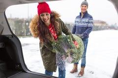 Couples chargeant l'arbre de Noël fraîchement réduit dans le dos de leur voiture Images libres de droits