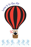 Couples chauds d'amour de ballon à air Image stock