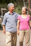 Couples chinois aînés marchant en stationnement Images libres de droits