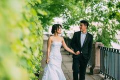 Couples chinois de mariage se tenant dans l'allée Photo stock