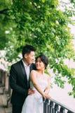 Couples chinois de mariage se tenant dans l'allée Photos stock