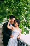 Couples chinois de mariage se tenant dans l'allée Images stock