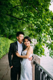 Couples chinois de mariage se tenant dans l'allée Photo libre de droits