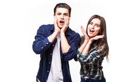 Couples choqués Images stock