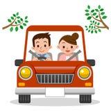 Couples conduisant dans la voiture Photos libres de droits