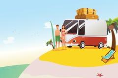 Couples continuant à surfer à l'illustration de vacances d'été Photographie stock libre de droits