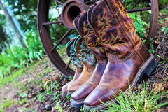 Couples Cowboy and Cowgirl Boots Royalty Free Stock Photography
