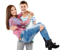 Couples d'adolescent heureux Photos stock