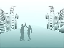 Couples d'affaires célébrant la réussite Photo libre de droits